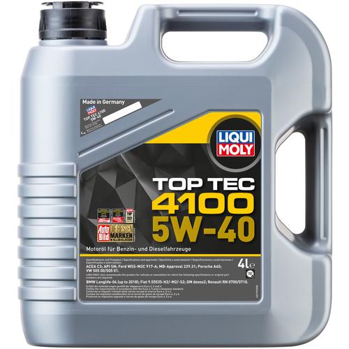 Полусинтетическое моторное масло LIQUI MOLY Top Tec 4100 5W-40 4 л моторное масло liqui moly top tec 4100 5w 40 sn cf a3 b4 c3 5 л нс синтетическое 7501