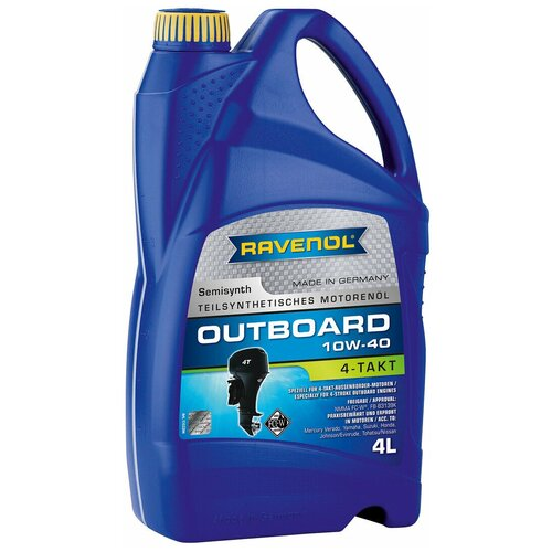 Полусинтетическое моторное масло Ravenol Outboardoel 4T SAE 10W-40, 4 л моторное масло ravenol tsi sae 10w 40 4 л
