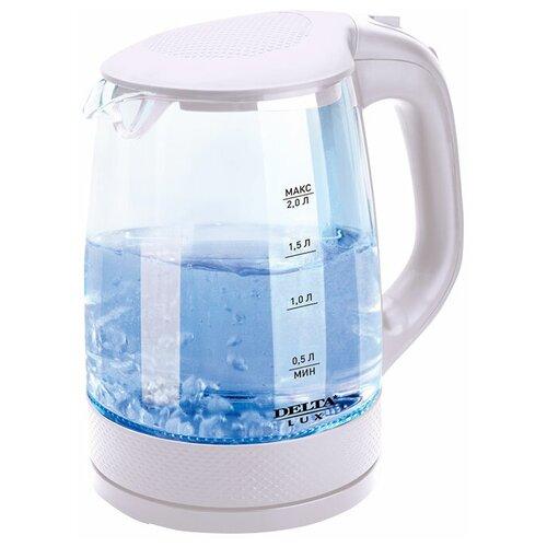 Чайник DELTA LUX DL-1058, белый чайник delta lux dl 1204b 1 7l black