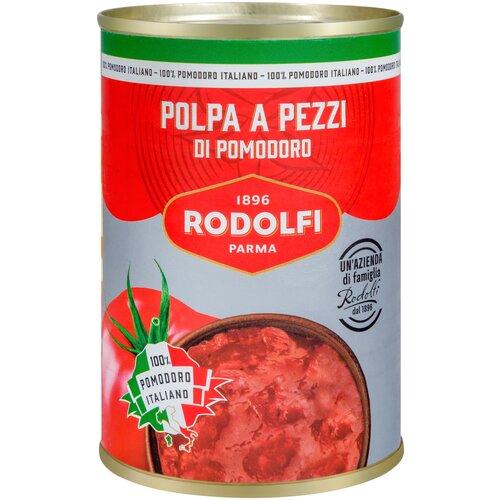 томаты очищенные резаные в томатном соке bioitalia 400 г Томаты Rodolfi очищенные резаные кубиками, 400 г, Италия