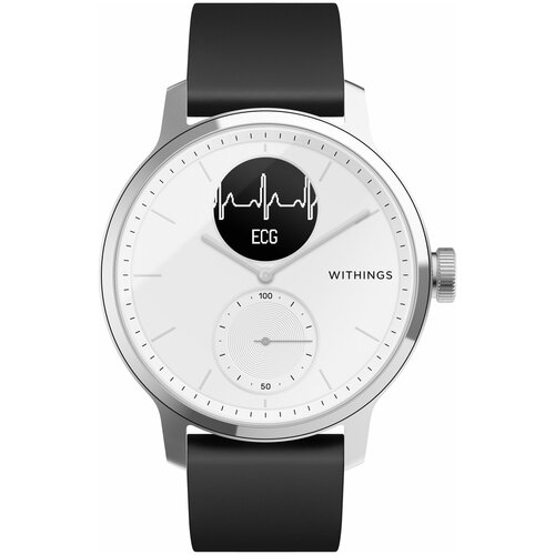 Умные часы Withings ScanWatch 42мм with silicone band, white/silver/black