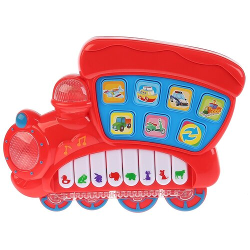 развивающая игрушка умка обучающее пианино м дружинина разноцветный Развивающая игрушка Умка Обучающее пианино - паровозик, красный