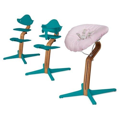 Детский стульчик Evomove Nomi от 0 мес до 12 лет с основанием дуб (комплект) океан; текстиль - розовая пудра