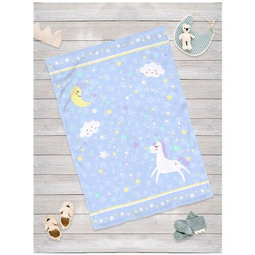 Купить Плед для новорожденных sfer.tex Единорог голубой 100х70 см, Покрывала, подушки, одеяла