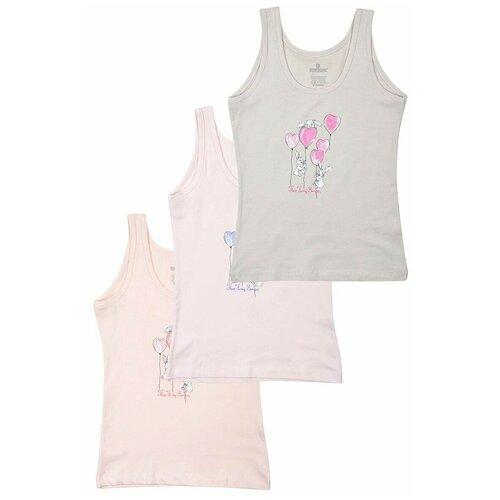 Купить Майка BAYKAR 3 шт., размер 158/164, белый/розовый/персиковый, Белье и купальники