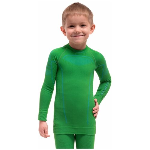 Термобелье детское для мальчиков Brubeck футболка с длинным рукавом THERMO зеленая 116-122