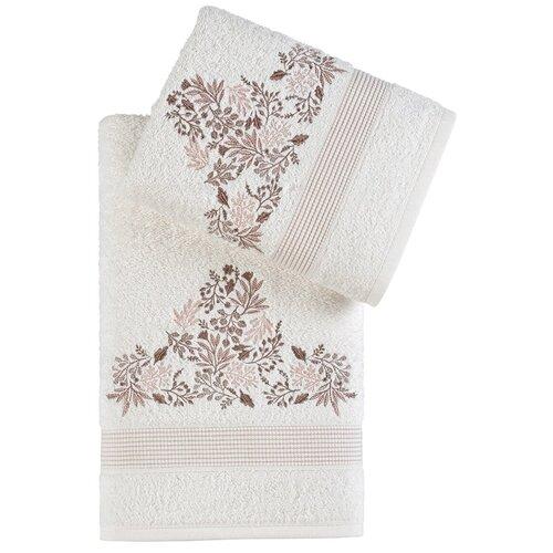 Комплект махровых полотенец Karna Abel кремовый недорого