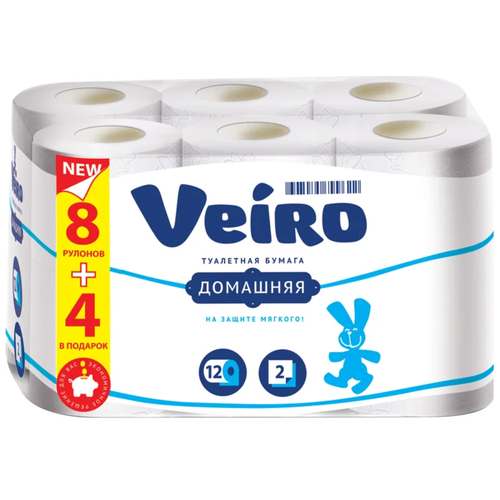 Купить Туалетная бумага Veiro Домашняя белая двухслойная 12 рул.