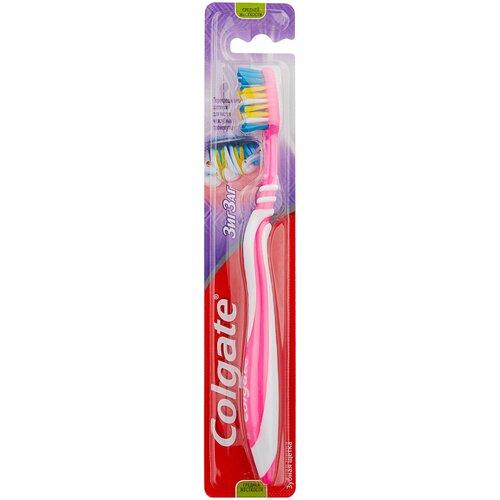 Зубная щетка Colgate Зиг Заг многофункциональная, средней жесткости, розовый