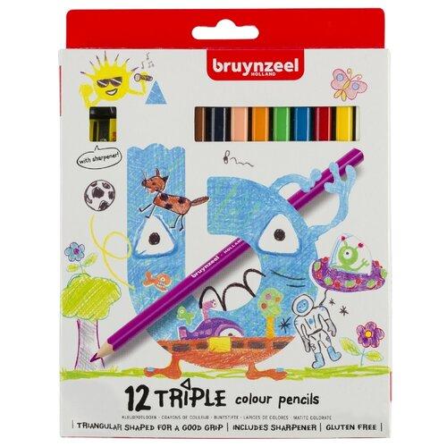 набор карандашей цветных трехгранных action dc comics 18 цв европодвес Набор цветных карандашей Bruynzeel трехгранных 12цв + точилка для детей от 4 лет