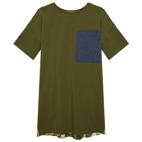 Платье Gulliver размер 170, хаки платье oodji ultra цвет красный белый 14001071 13 46148 4512s размер xs 42 170