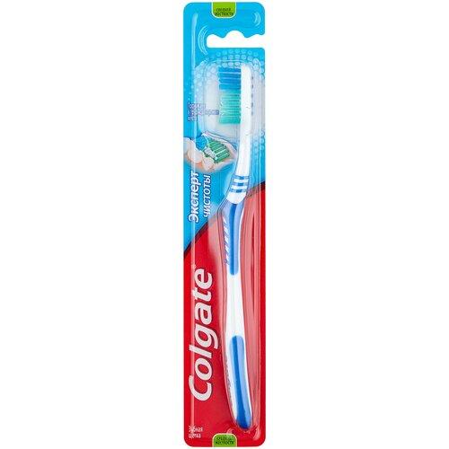 Зубная щетка Colgate Эксперт Чистоты многофункциональная, средней жесткости, синий