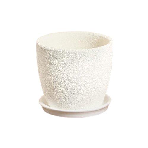 Горшок Керамика ручной работы с поддоном Осень шелк 13 х 12 см белый по цене 570