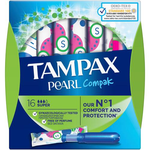 TAMPAX тампоны Compak Pearl Regular Duo с аппликатором, 2 капли, 16 шт. tampax тампоны компак с аппликатором регуляр 8 tampax compak
