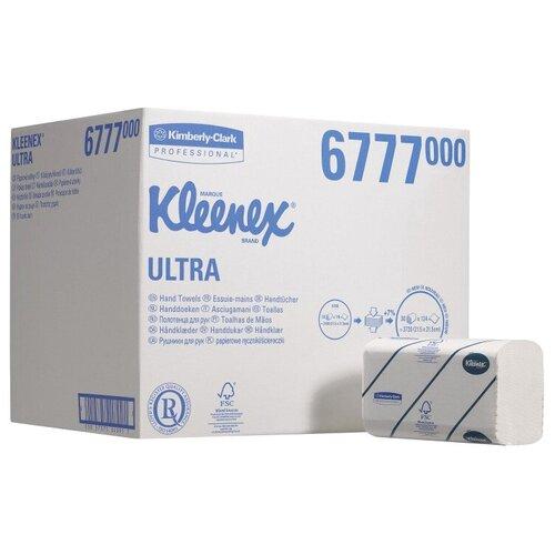 Полотенца бумажные Kleenex Ultra 6777 двухслойные белые в пачках, 30 уп., 124 лист.