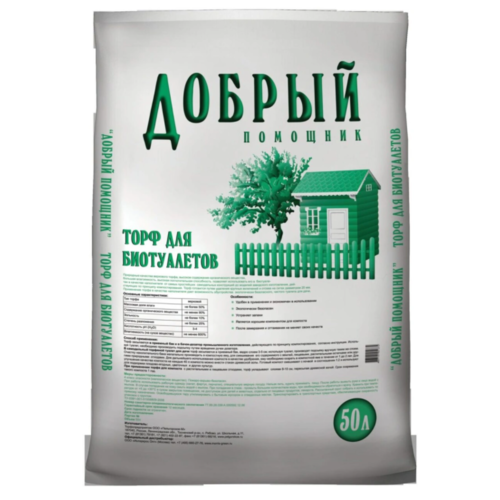 Торфяной наполнитель для биотуалетов и компостов Добрый помощник 50 л.