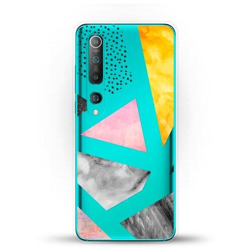 Силиконовый чехол Мраморные треугольники на Xiaomi Mi 10 Pro