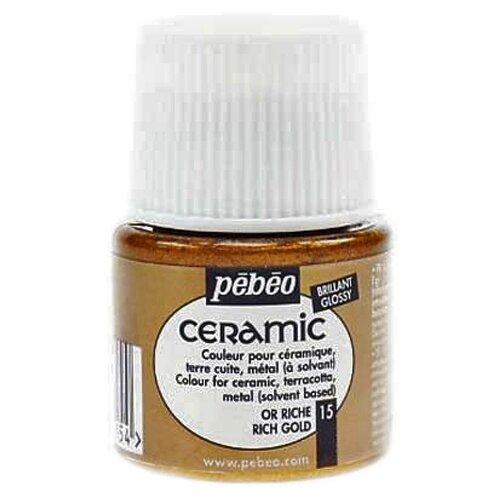 Купить Pebeo Краска по керамике и металлу Ceramic, 45 мл под яркое золото, Краски