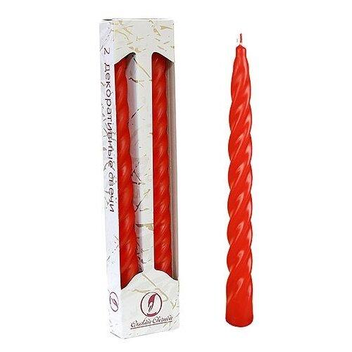 Свечи витые, красные, 2.3х24.5 см (упаковка 2 шт.), Омский Свечной 008118-свеча