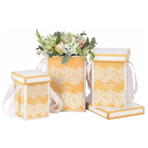 Фото - Набор подарочных коробок Дарите счастье Кружево 3 шт. желтый набор подарочных коробок tai an baoli paper product co ltd фауна 17 шт желтый