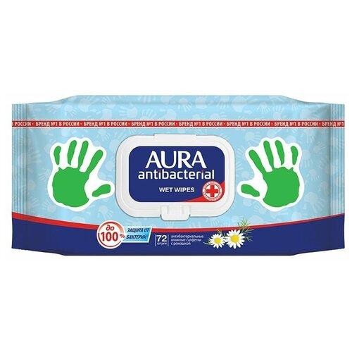 Фото - Влажные салфетки Aura антибактериальные с ромашкой, 72 шт. салфетки влажные aura антибактериальные 20 шт