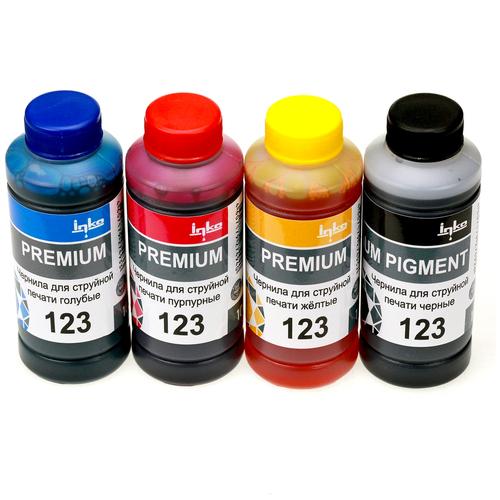 Фото - Чернила для принтера INKO 123 для HP DeskJet 2130, 2620, 2630, 2632, 3639 комплект 4 цвета по 100g чернила краска для заправки принтера hp deskjet 6843 набор оптима