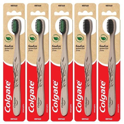 Зубная щетка Colgate Бамбук Древесный Уголь, мягкая, в ассортименте, 5 уп.