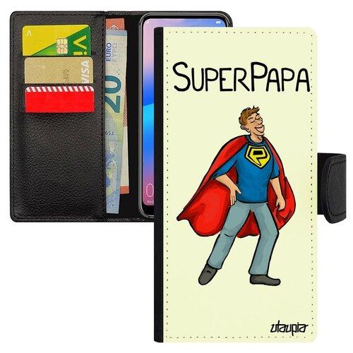 Чехол-книжка на смартфон Хуавей P20 Про уникальный дизайн Суперпапа Герой Семья