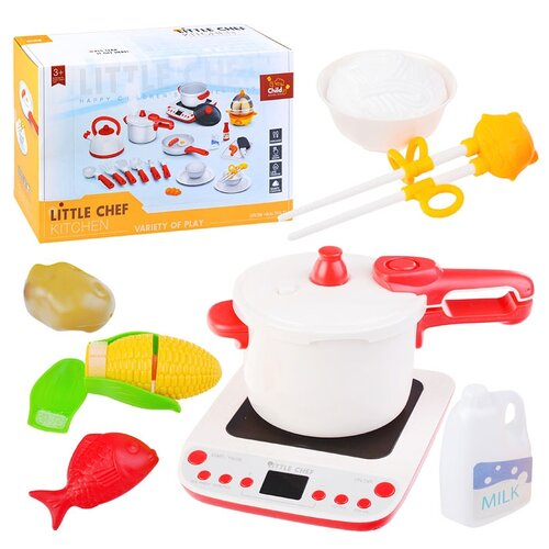 Набор посуды Oubaoloon Кухня, с плитой, скороваркой и продуктами, в коробке (BC9008)