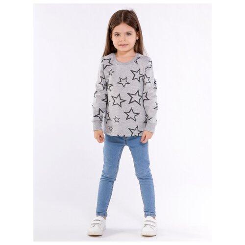 Джемпер детский, набивное полотно-звезды, цвет серый меланж, размер 110
