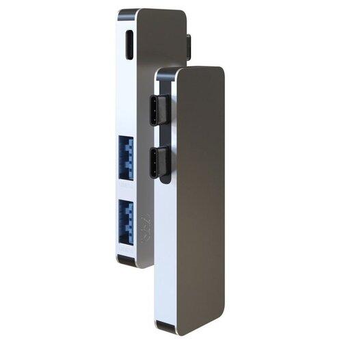 USB-концентратор vlp Type-C (MPH1), разъемов: 3, серебристый