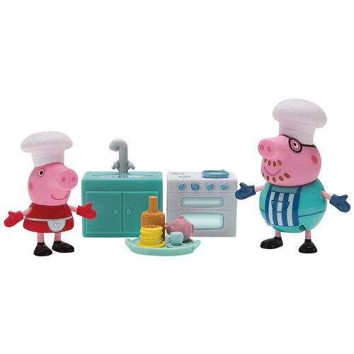 Купить Игровой набор Intertoy Peppa Pig Пеппа и Папа пекут блинчики 35353, Игровые наборы и фигурки