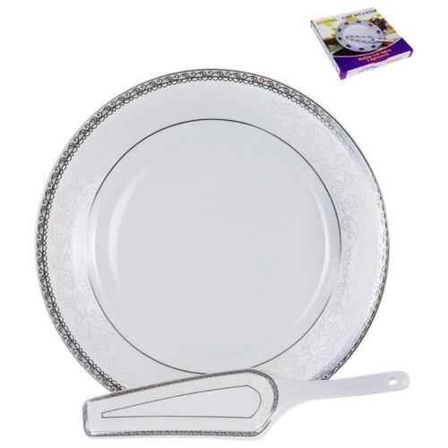 Набор для торта 114-19019, ВЕНЕРА Альмак, блюдо для торта 300мм + лопатка, декор серебро, цветная упаковка, Guterwahl набор для торта guterwahl венера альмак 2 предмета арт 114 19019