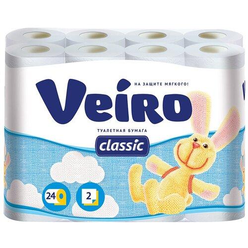 Купить Туалетная бумага Veiro Classic белая двухслойная 24 рул.