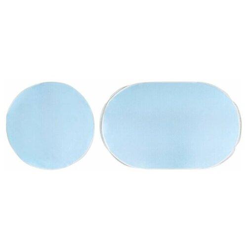 Наматрасник защитный непромокаемый для круглой и овальной кровати Пелигрин из клеенки с махровым покрытием 2 шт. (круглый d75 см. и овальный 75х125 см.) голубой
