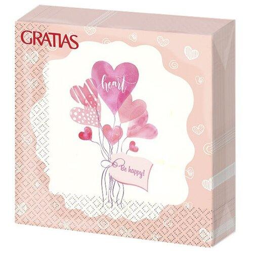 Салфетки бумажные 3сл 33см 20л Gratias Букет сердец