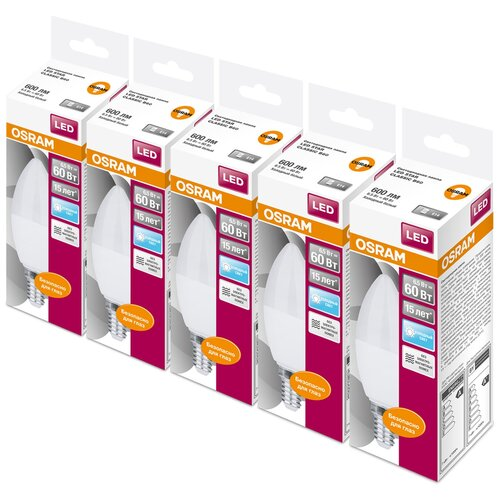 Фото - Упаковка светодиодных ламп 5 шт OSRAM Led Star Classic B 60 840, E14, C37, 6.5Вт упаковка светодиодных ламп 5 шт osram led star classic b 75 830 e27 8вт