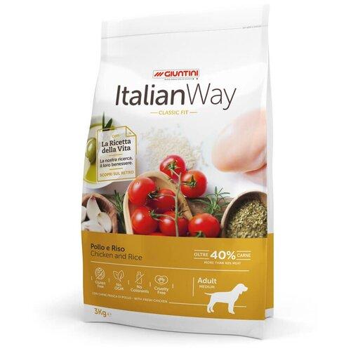 Сухой корм для собак Italian Way курица, с рисом 3 кг (для средних пород) недорого