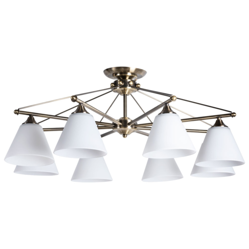 Фото - Люстра Arte Lamp Copter A3208PL-8AB, E27, 320 Вт, кол-во ламп: 8 шт., цвет арматуры: бронзовый, цвет плафона: белый люстра arte lamp enigma a3133pl 8ab 320 вт