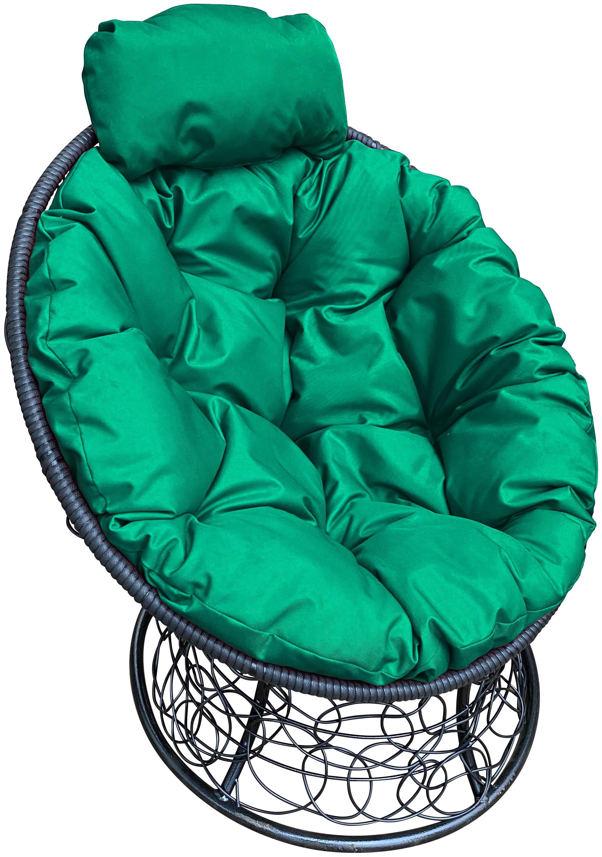 Купить Садовое кресло Папасан мини ротанг черное зеленая подушка по низкой цене с доставкой из Яндекс.Маркета
