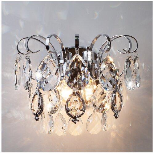Фото - Настенный светильник Eurosvet Crystal 10081/2 хром/прозрачный хрусталь Strotskis, E14, 120 Вт люстра eurosvet crystal 10081 6 хром прозрачный хрусталь e14 360 вт