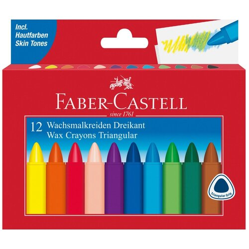 Faber-Castell Восковые карандаши Triangular, 12 цветов
