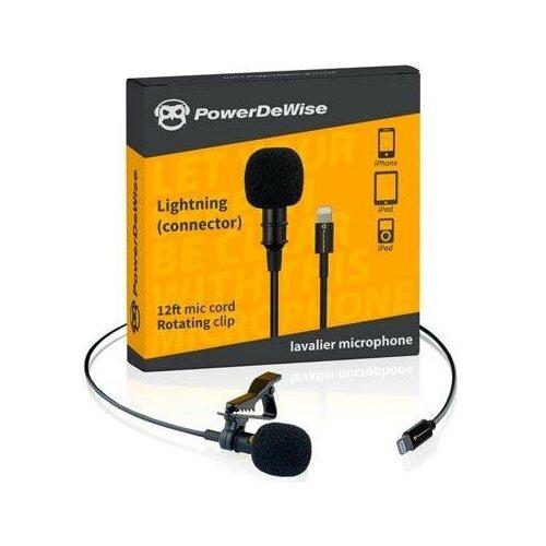 Микрофон PowerDeWise петличный с Lightning коннектором, черный