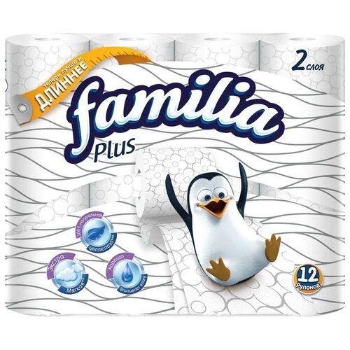Купить Туалетная бумага Familia Plus белая двухслойная 12 рул.