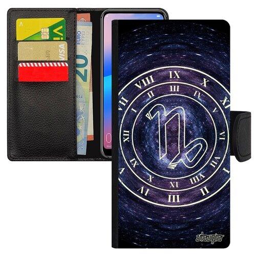 Чехол книжка для смарфона Huawei P20 Pro французский дизайн Зодиак Каллиграфия Календарь