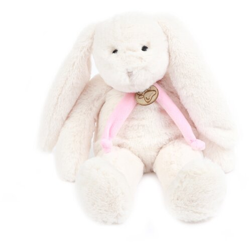 Мягкая игрушка Заяц 40 см белый/фиолетовый