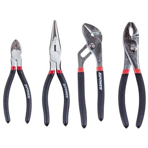 Фото - Набор шарнирно-губцевого инструмента ZiPOWER PM 5157, 4 предм., черный/серебристый набор шарнирно губцевого инструмента harden 560179 3 предм черный оранжевый