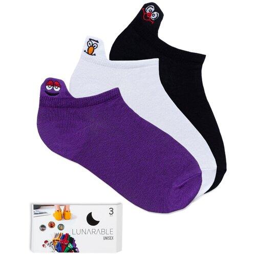 Короткие женские носки lunarable Смайлы, синие, белые, черные