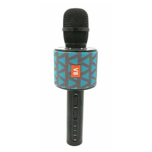 Беспроводной караоке-микрофон V8 (серо-голубой)