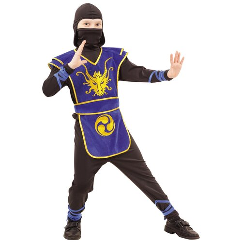 Купить Костюм пуговка Ниндзя (2053 к-18), черный/синий, размер 140, Карнавальные костюмы